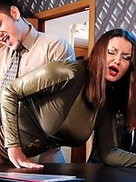 Stacked mature secretary gets her luscious ass attacked on the office desk
