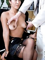 Horny mature cougar Diana gives a good blowjob to a lucky hunk applicant during an interview